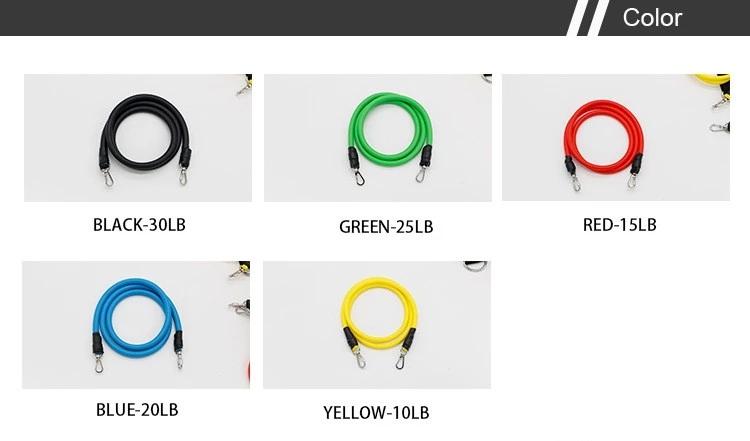 11-piece rubber latex tube pull rope elastic rope zinc hook elastic resistance bands