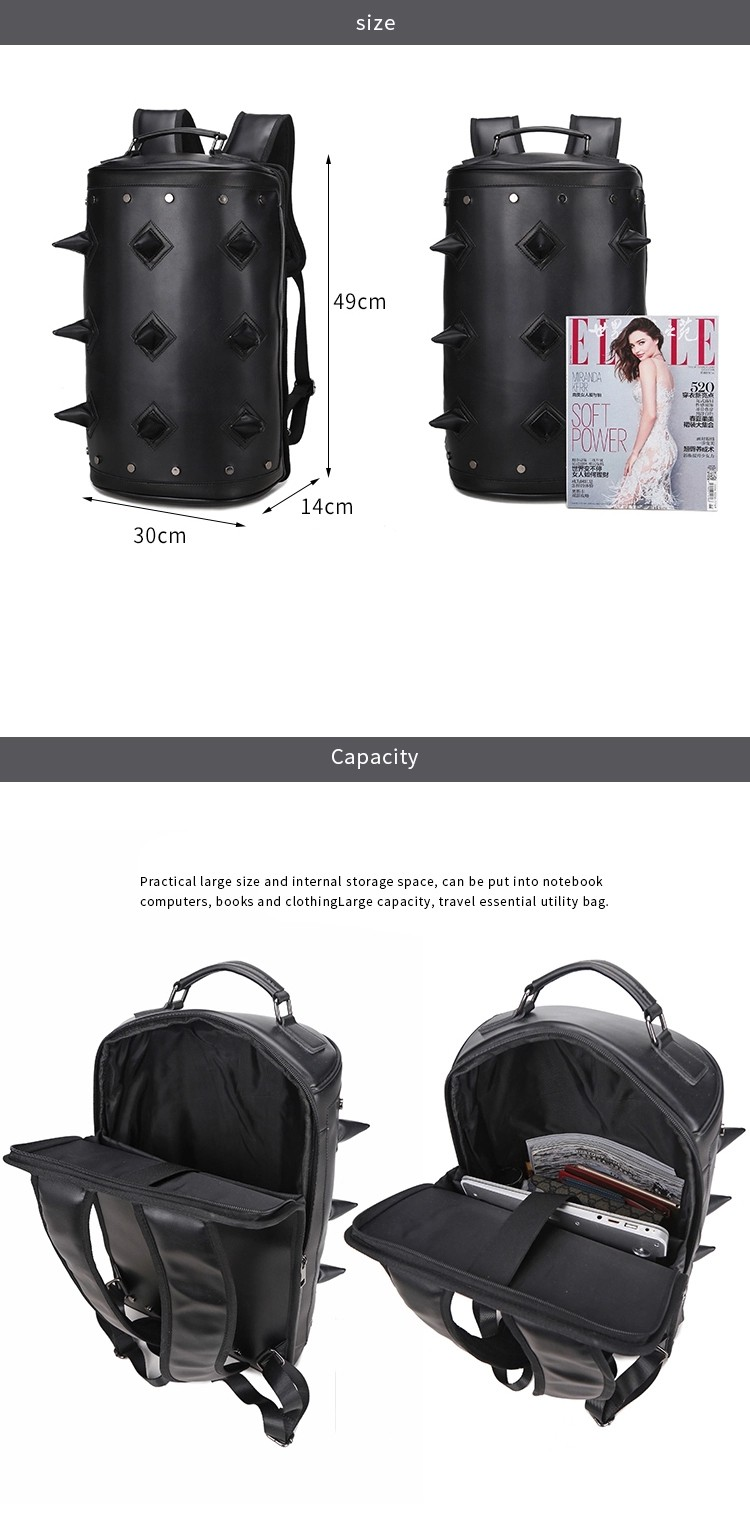 Water Proof PU Leather Punk 3D Men's Fashion Cylindrical Double-shoulder Rivet Sports Notebook Bag Computer Backpack