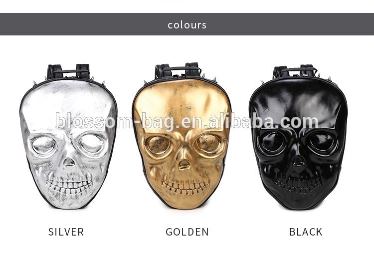 Halloween Scary Face 3D Design Golgo Man Double-shoulder Rivet Sports Notebook Bag Computer Backpack