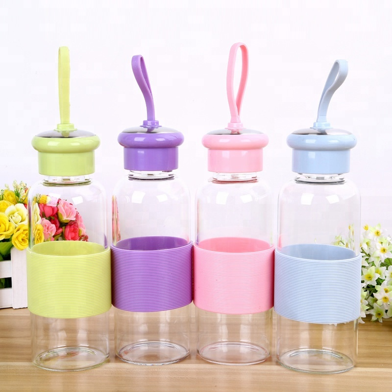 Wholesale 500ML Portable glass water bottle for travel