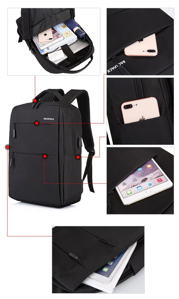 Promotional Fashion USB Charging Backpack Waterproof Business Travel Laptop Bag