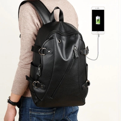 New backpack man Fashionable leather backpack men's simple computer bag fitness bag