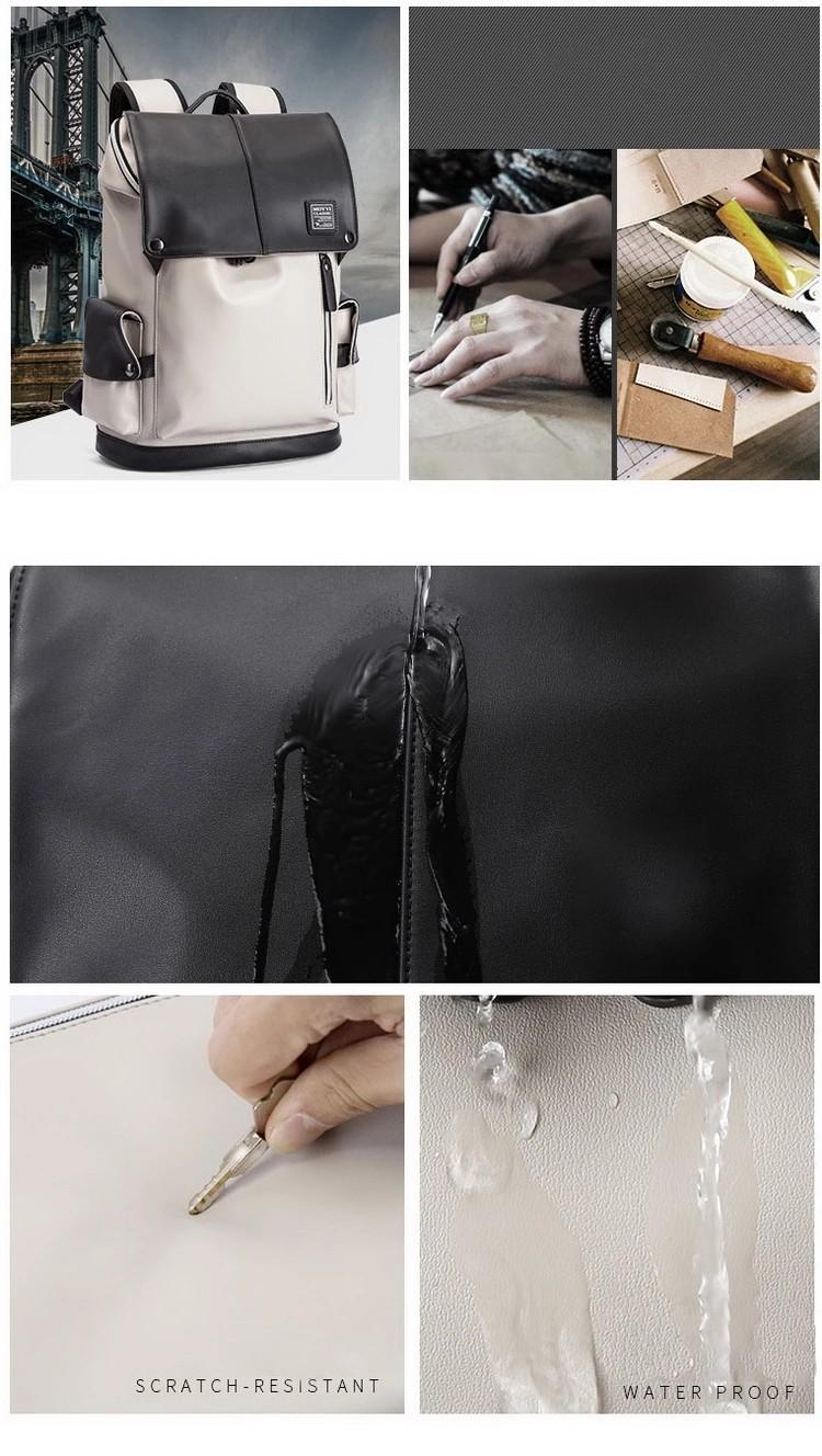 Wholesale Stylish Leather School Bag Teen Flip Design Waterproof Laptop Backpack for Men USB Charging Port