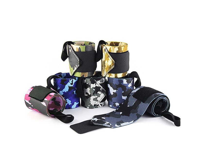 Camouflage Nylon Weightlifting Wrist Wraps Fitness