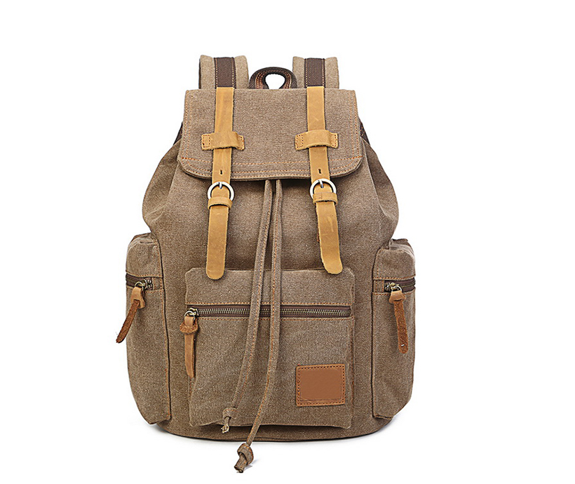 12 inch pad Adjustable Shoulder Pu Leather Bucket Traveling Mountaineering Drawstring Climbing Large Carrying Canvas Backpack