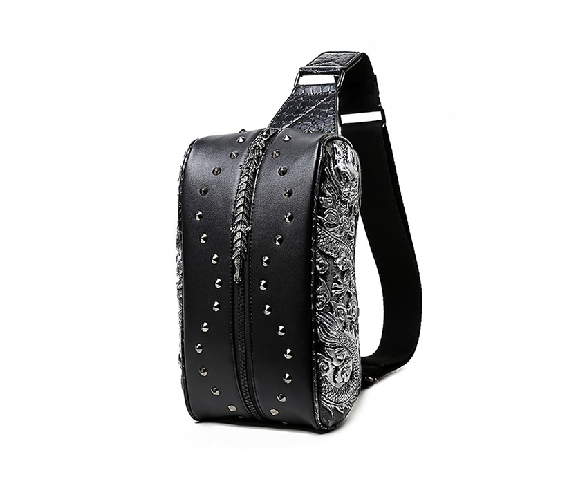 3D Single-shoulder Cross-waist Small Chest bag PU Double Dragon Men's Waist Rivet Fanny Sports Pack