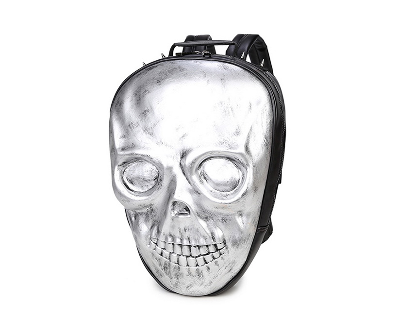 Halloween Scary Face 3D Design Golgo Man Double-shoulder Rivet Sports Notebook Bag Computer Backpack