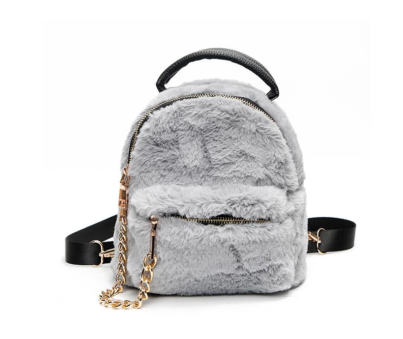New Design Winter Ladies Cute Creative Schoolbag Mini Simple Fur Backpack