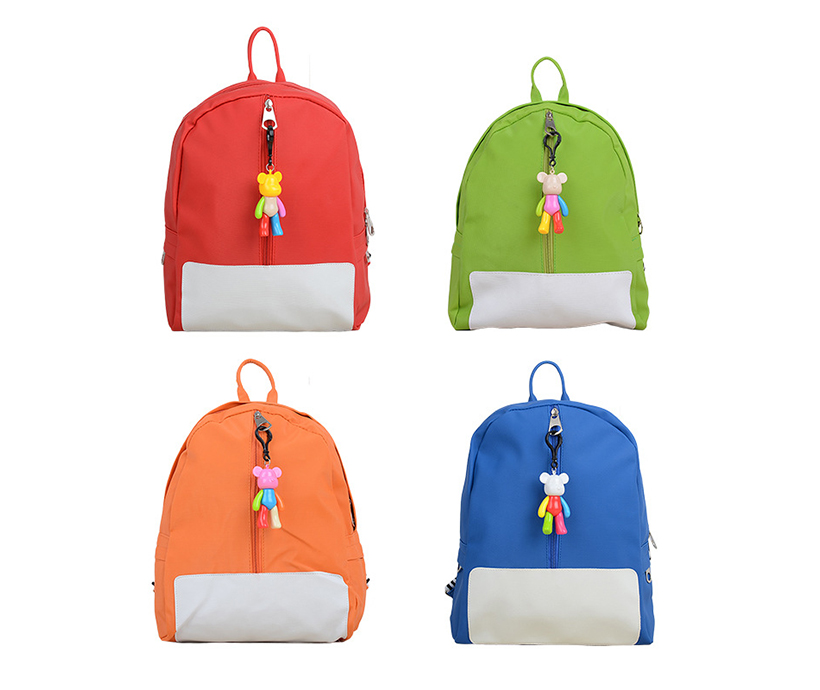 Kids PU Leather Simple Pattern Children Backpack Cute Pendant Fashion Bags