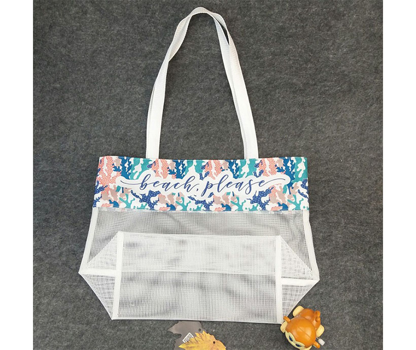 Wholesale Polyester Digital Printing Travelling Women Kids Summer Beach Mesh Tote Sand Away Beach Bag