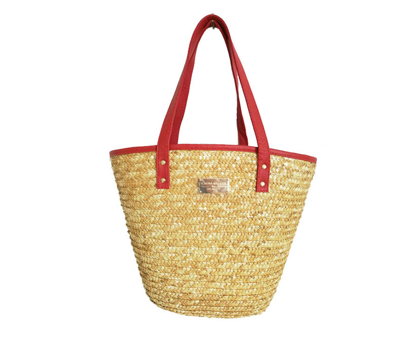 Trendy PU Leather Handle RRecycled Women Corn Husk Hand Woven Summer Bucket Beach Straw Bags