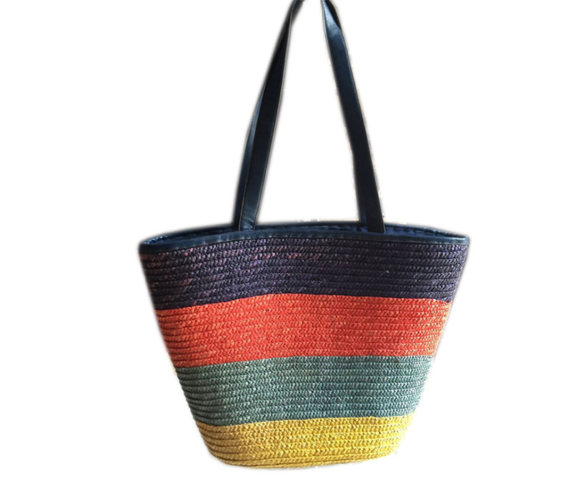 Colorful Stripes PU Leather Handle Recycled Women Hand Woven Summer Bucket Beach Straw Bags
