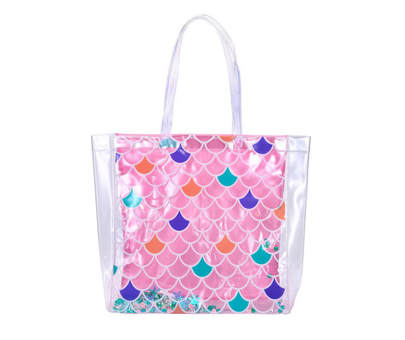 Transparent PVC Beach Bag Ladies Laminated Sequins Waterproof Tote Bag