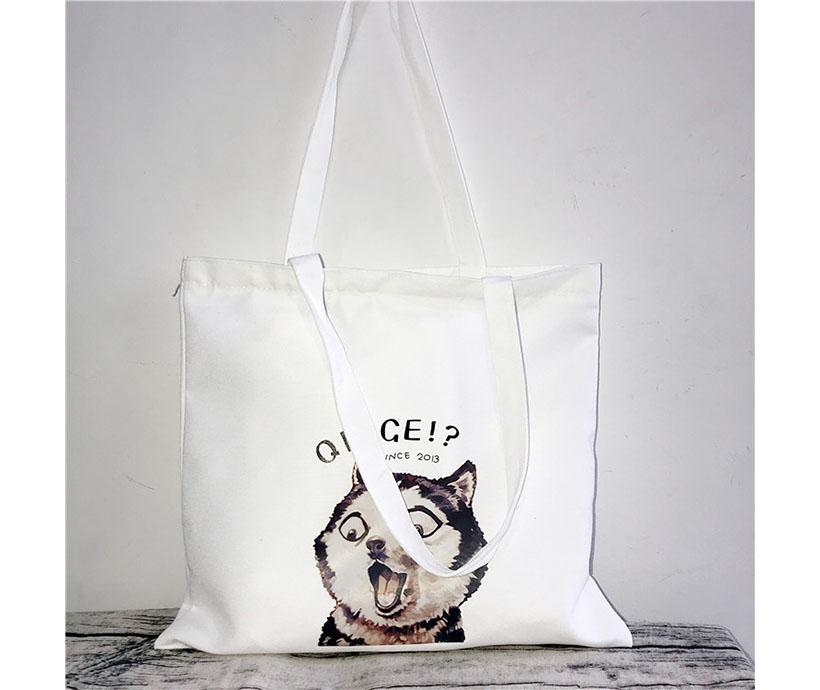12 oz Poly Cotton Student Canvas White Colorful Dog Animal Print Shopping Tote Bag