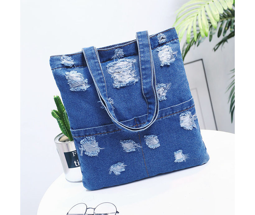 Personality Jeans Canvas Large Capacity Double Pocket Wome Shopping Shoulder Bag