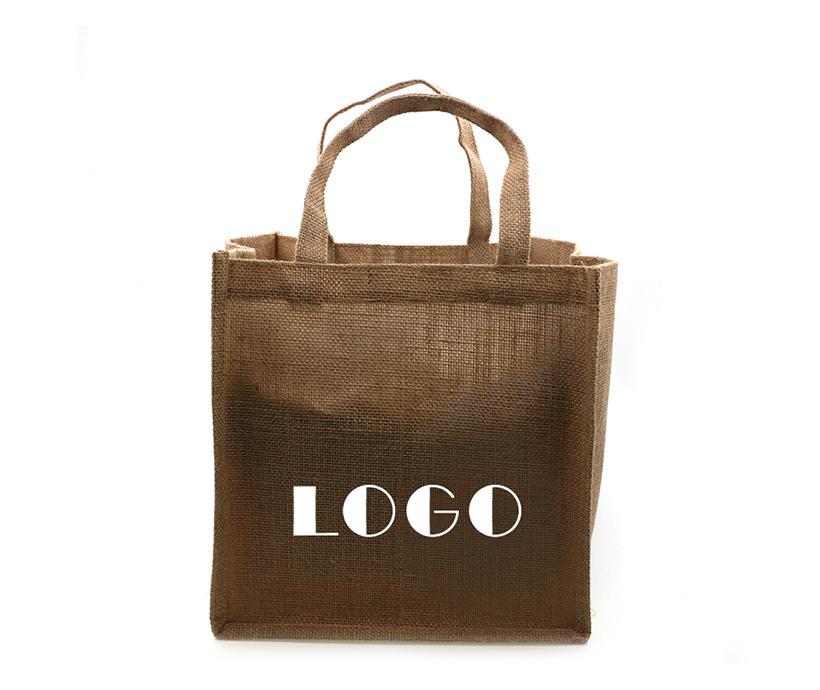 Alibaba Recyclable Durable Logo Printed Laminated Jute Shopping Tote Bag