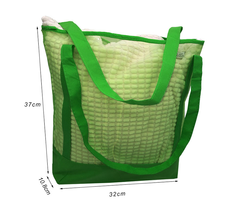 Non woven Beach Mesh Grocery Tote Bag with Pouch