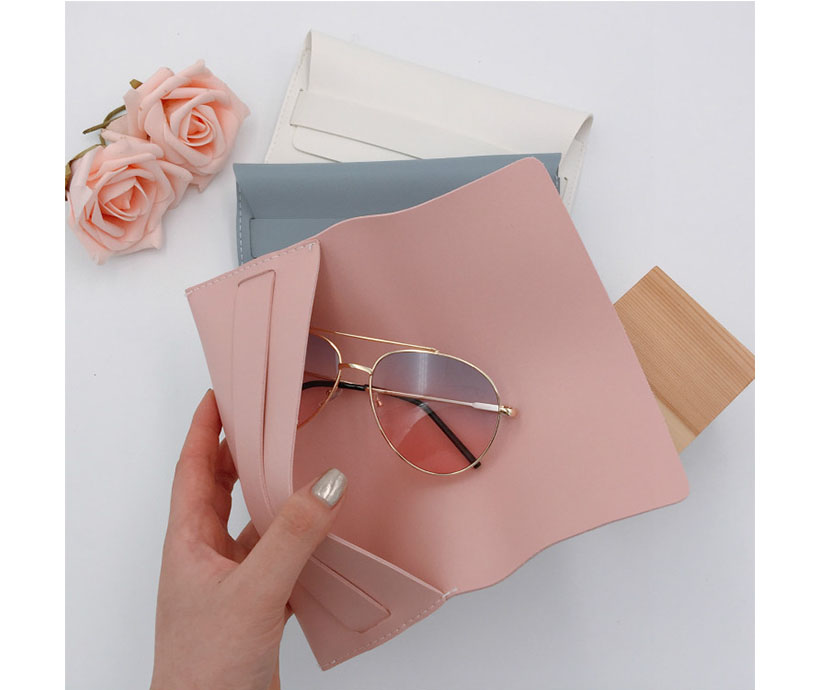 Eco friendly Custom LOGO Promotional Cool Breeze Solid Color Pink Soft Leather Sunglasses Pouch Case Bag