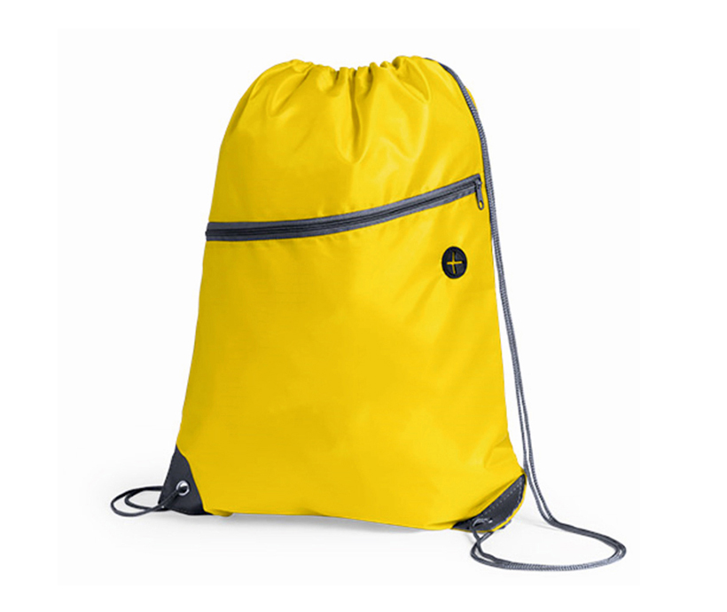Promotional Logo Printed Eco Friendly Polyester Drawstring Sports Gym Bag with Zipper Pocket and Earphone Hole