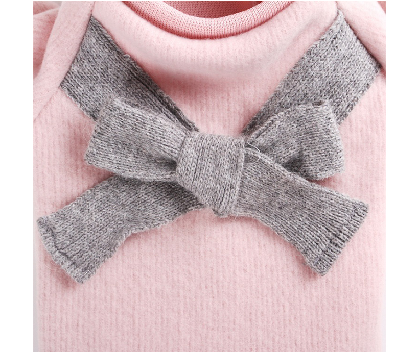 Soft Warm Pink Light Gray Dog Accessories Bow-knot Brushed cloth Coat Pet Clothes