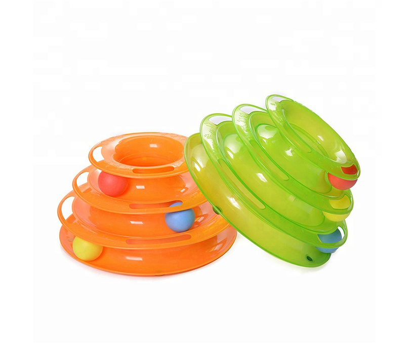 Plastic 3 Levels Cat Toy Mouse Cat Toy Tower of Tracks Pet Toy With Balls