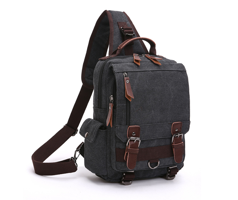 New Trendy Men's Slanting Across Multi-Pockets Chest Bag Canvas Interface Cycling Backpack Bags