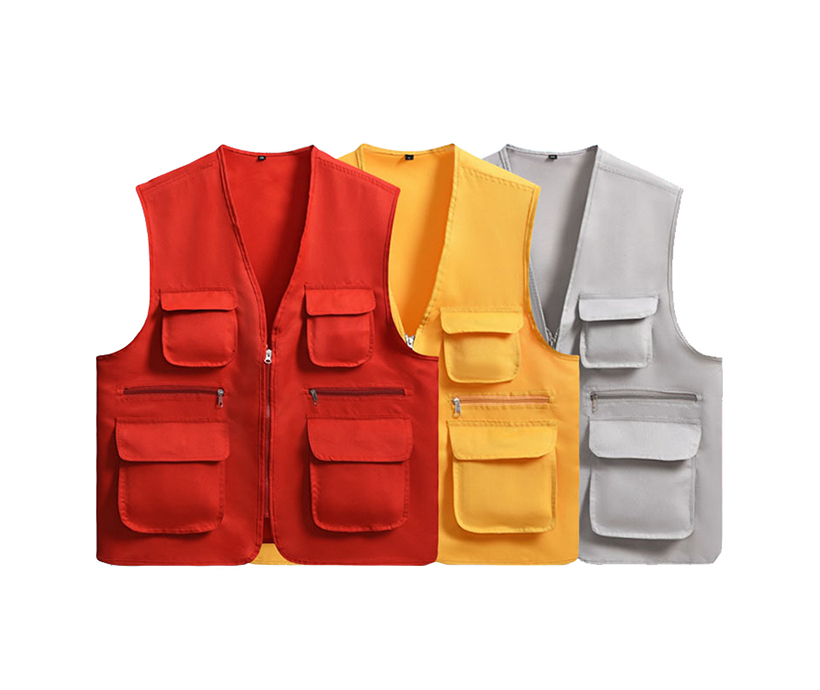 Men's Multi Pockets Outdoor Vest Waistcoat For Camping Photography Volunteer Promotional Advertising Vest Bib