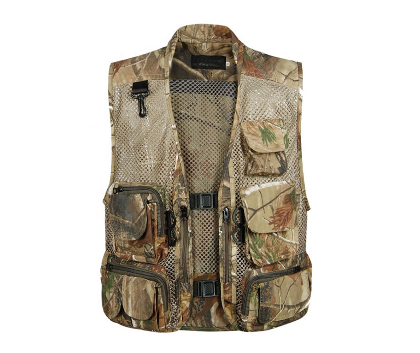 Men's outdoor travel design windproof camo military camouflage fly multi pocket fishing vest